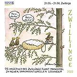 Zwillinge Mini 2022: Sternzeichenkalender-Cartoon - Minikalender im praktischen quadratischen Format 10 x 10 cm.