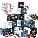 Zaloife Adventskalender zum Befüllen, 24 Adventskalender Boxen, Adventskalender Selber Befüllen, inkl. Adventszahlen Aufkleber, Weihnachtskalender DIY Bastelset, Schachteln zum Befüllen