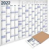 Yohmoe® XXL Jahresplaner 2022 Wandkalender (100 x 70 cm) GEFALZT in Poster Größe. Querformat, gefaltet - Wandplaner, Jahreskalender, Plakatkalender. 1 Stück