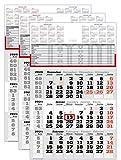 3 Stück - 3 Monats Wandkalender 2021 mit Datumschieber in Rot, inkl. Ferienübersichten und Jahresüberblick 2021 und 2022, Dreimonatskalender, 3 Monatskalender keine Werbung