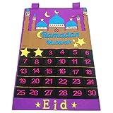 Bestlle Eid Mubarak Filzkalender, 30-Tage-Ramadan-Countdown-Kalender mit Bonbontaschen für Kinder Geschenke Ramadan-Party