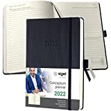 Sigel C2210 Terminplaner Tageskalender 2022 - ca. A5 - schwarz - Hardcover - 400 Seiten - Gummiband, Stiftschlaufe, Archivtasche - PEFC-zertifiziert - Conceptum