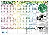 Abwischbarer Wandkalender Schuljahr 2021/2022 | Maße: 89cm x 63cm (A1) | Übersichtlicher Schuljahres-Kalender, Schuljahres-Planer inkl. Ferientermine & Stundenpläne | nachhaltig & klimaneutral