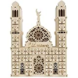SNOWINSPRING Eid Mubarak Countdown Kalender DIY Holz Ramadan Dekoration Holz Kleine Süßigkeiten Geschenk Schublade für Haus Party Dekoration