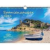 Spanienzauber DIN A4 Kalender für 2021 Spanien - Geschenkset Inhalt: 1x Kalender, 1x Weihnachts- und 1x Grußkarte (insgesamt 3 Teile)