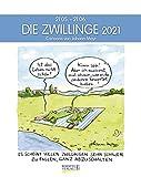 Zwillinge 2021: Sternzeichenkalender-Cartoonkalender als Wandkalender im Format 19 x 24 cm.