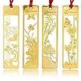 4 Stueck chinesische Metall Lesezeichen – Amupper Golden Hollow Lesezeichen