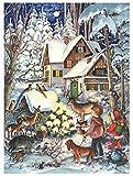 Nostalgischer Adventskalender / Weihnachtskalender für Kinder und Erwachsene mit Bildern und Glimmer 'Winter bei den Tieren'