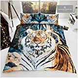 Gaveno Cavailia Premium 3D Wild Animal Bengal Print pflegeleicht Wildlife Bettbezug und Kissenbezüge Kingsize Bettwäsche-Set, Baumwolle, 50% Polyester, Brauner Tiger, King Size