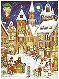 Richard Sellmer Verlag Nostalgischer Adventskalender / Weihnachtskalender für Kinder und Erwachsene mit Bildern und Glitzer Altstadt im Schnee