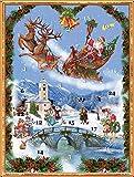 Richard Sellmer Verlag Nostalgischer Adventskalender / Weihnachtskalender für Kinder und Erwachsene mit Bildern und Glitzer Weihnachtsmann im Schlitten