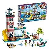 LEGO 41380 Friends Leuchtturm mit Flutlicht Tierklinik mit 4 Stockwerken mit den Minipuppen Mia und Emma, Tierfiguren, Set zur Meeresrettung