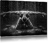 Bodybuilder im Regen, Format: 120x80 auf Leinwand, XXL riesige Bilder fertig gerahmt mit Keilrahmen, Kunstdruck auf Wandbild mit Rahmen, günstiger als Gemälde oder Ölbild, kein Poster oder Plakat