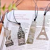 Aisi Vintage Retro kreative Metall 4 Stück Set Lesezeichen Bookmark Paris Eiffelturm, London, New York Pizza dünn Silber