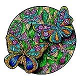 Funnli Holzpuzzles für Erwachsene und Kinder,Einzigartige Tierförmige Holz-Puzzle(Schmetterling), Puzzle aus Tierteilen 257 Stück, Spiele zur intellektuellen Entwicklun, M-25 * 23.8cm